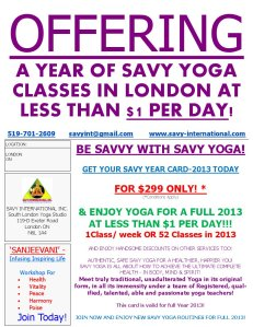 Yoga Hot Deal SAVY Year Card 2013